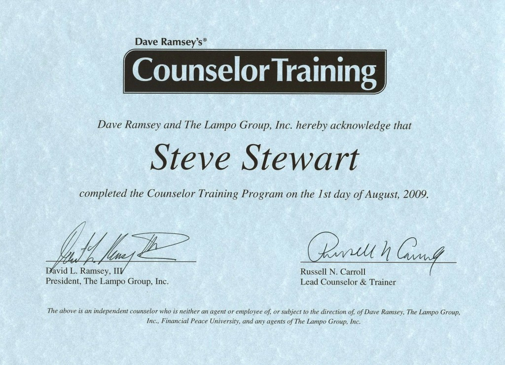 MoneyPlan SOS Dave Ramsey Trained Counselor Certificate