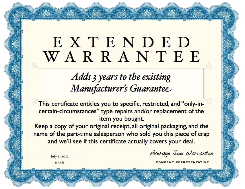 Extended Warrantee Certificate
