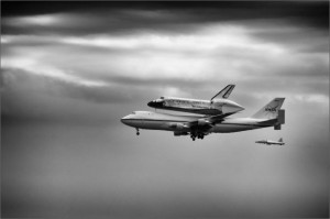 Space Shuttle being transported on the back of a 747